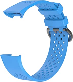 AWINNER Replacement Bands Compatible For Fitbit Charge 3 Special Edition Adjustable Sport Wristbands Large Blue