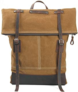Retro Waterproof Men's Canvas Travel College Backpack Roll Top Bag Large Capacity Leisure Travel Bag (Color : Brown, Size : 36cm*9cm*43cm)