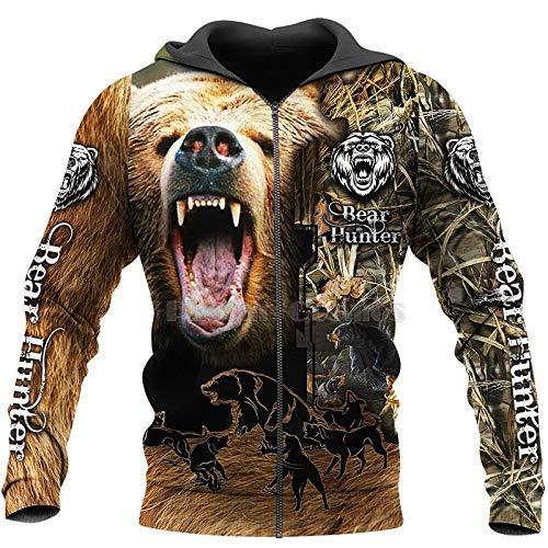 Sudadera con Capucha 3D 3DImpresos Camisas De Impresión En 3D Camisas/Camisetas/Cremallera Hombre Mujeres Grandes Oso Negro Ziphoodie