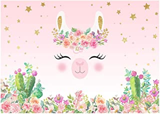 Funnytree 7x5FT Llama Birthday Party Backdrop Pink Alpaca Baby Shower Decoration Cactus Flower Photography Background Mexican Photobooth