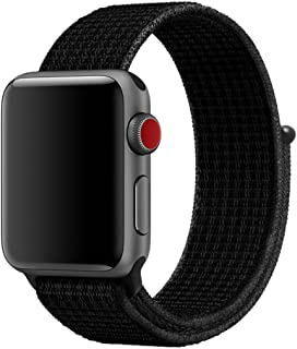 COVERY コンパチブル apple watch バンド,スポーツループバンド 新しいナイロン アップルウォッチバンド 軽量通気性 コンパチブルiWatch通用ベルト apple watch series 4/3/2/1に対応 (ダークブラック,42mm,44mm)