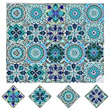 20Pcs Pegatinas de Baldosas Azulejos Vinilo Cocina Baño 15*15cm Mosaico Retro Decorativo Autoadhesivo Impermeable Pegatinas Azulejos Bricolaje para Cocina Baño Hogar Decoración