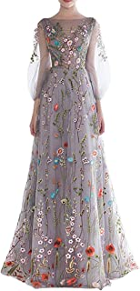Women's -Embroidered Long Sleeve Maxi Dress Prom Gown