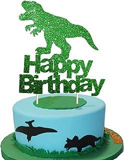 Dinosaur Cake Topper Green Glitter T-Rex Happy Birthday Party Cake Decor Dino Jungle Jurassic Dinosaur Themed 1st 2nd 3rd ...