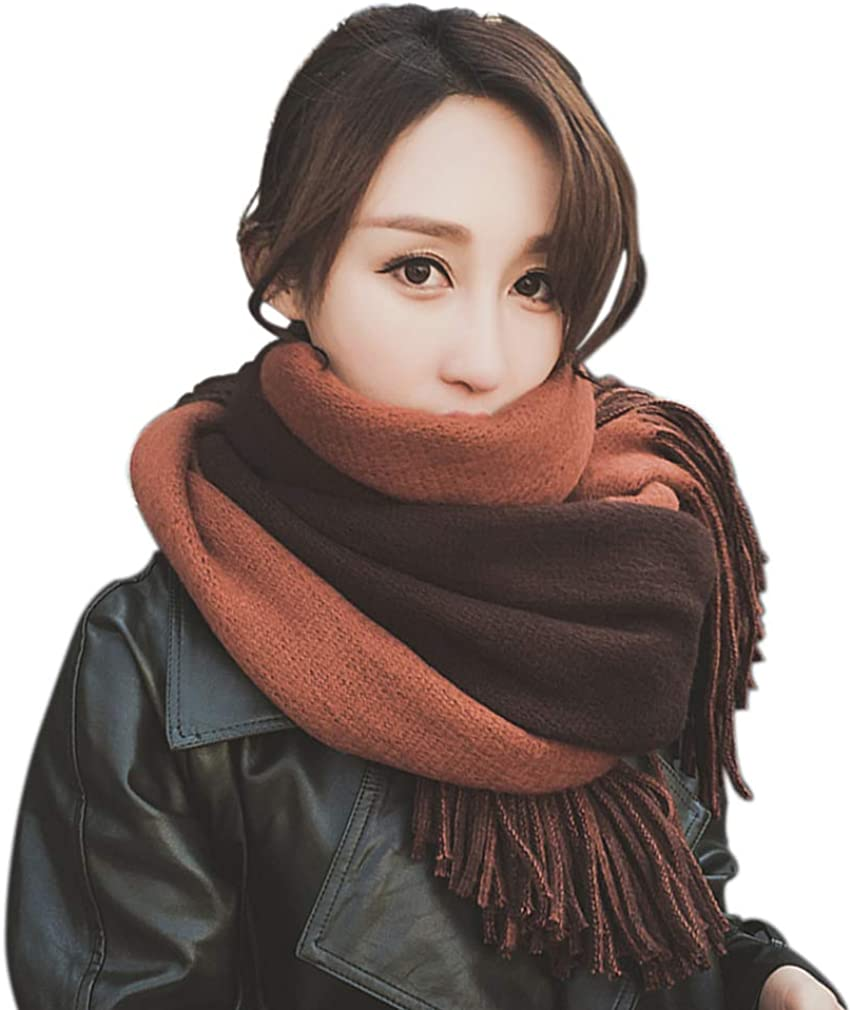 MIWORM Women Double Color Super Soft Tassel Fashion Long Scarf Blanket Oversized Large Warm Cashmere Feel Shawl,More Thick