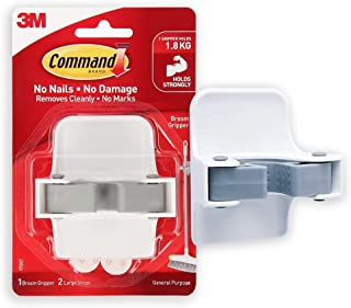 Command Broom Gripper,1 Hook and 2 Strips,Self Adhesive,Damage Free Walls, Holds 1.8kg,White