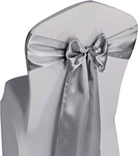 Silver Satin Chair Sashes Ties - 100 pcs Wedding Banquet Party Event Decoration Chair Bows (Silver, 100)