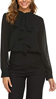 Beyove Elegante zakelijke chiffon blouse voor dames, slipshirt, opstaande kraag, met ruches, lange mouwen, knopen, feestel...