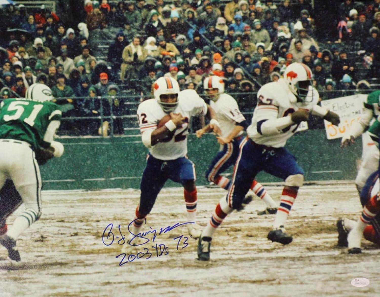O.J. Simpson Autographed Buffalo Bills 16x20 Photo 2003 Yds 1973 JSA