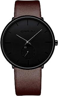 Relojes para hombre, reloj de pulsera de moda, impermeable y minimalista, ultrafino, correa de cuero unisex