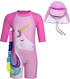 Cotrio Little Girls' Unicorn One Pieces Swimwear Kids Rash Guard Set Short Sleeve Sun Suit with UV Sun Hat UPF 50+ Sun Protection (7T, 6-7 Years, Pink)