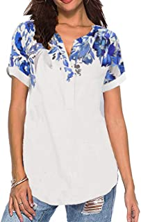 ZSBAYU Women Summer Floral Print Patchwork V-Neck Short Sleeves T-Shirts Blouse Tops Casual Polo Shirt