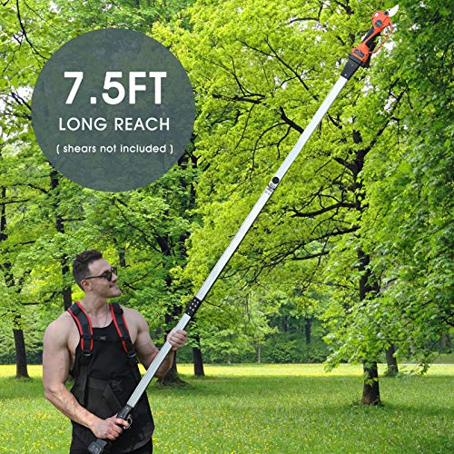 Telescopic Pruning Shears Pole - 7.5 Foot for Battery Powered Long Reach Cordless Shears, Extendable Electric Tree Branch Pruner Long Pole, Lightweight and Portable