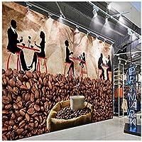 Wkxzz 壁の背景装飾画 カスタム写真壁紙コーヒーショップレトロなシルエット背景壁画ラウンジ廊下壁画-200X140Cm
