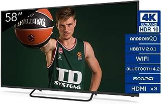 TD Systems K58DLX11US Smart TV 58 pollici 4K UHD Android 9.0 e HBBTV 1500 PCI Hz 3X HDMI 2X USB DVB-T2/C/S2 Hotel Mode TV