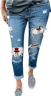 HINK Pantalones de Talla Grande, Pantalones Vaqueros Rasgados con Estampado de Sombrero de muñeco de Nieve para Mujer, Pan...