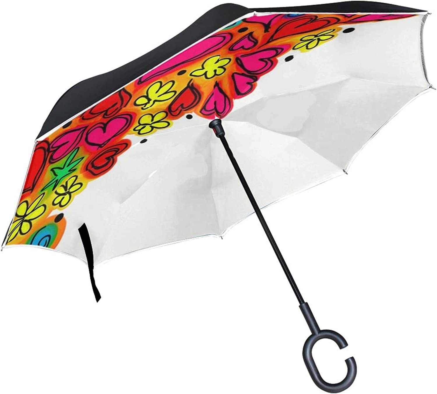 Double Layer Ingreened Doodle Sketch Felt Tip Hand Drawn Design Drawing 1070322 Umbrellas Reverse Folding Umbrella Windproof Uv Predection Big Straight Umbrella For Car Rain Outdoor With Cshaped Handle