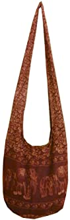 BTP! Elephant Floral Print Sling Crossbody Shoulder Bag Purse Hippie Hobo Thai Cotton Gypsy Bohemian Large