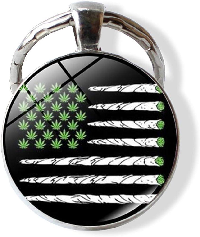 Marijuana Leaf Keychain Cannabis Weed Keyring