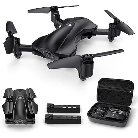 Holy Stone ドローン 1080Pカメラ GPS搭載 200g未満 折り畳み式 バッテリー2個 飛行時間30分 収納ケース付き カメラ付き フォローミーモード リターンモード 国内認証済み 高度維持 モード1/2自由転換可能 HS165 (ブラック)