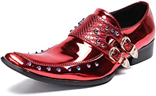 Men's Business Leather Shoes,Banquet Wedding Rivets Dress Shoes Bright Patent Leather Double Buckle,Red-37