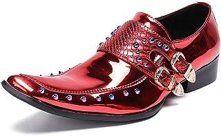 Chaussures en cuir pour hommes d'affaires,Chaussures Rivets banquet de mariage robe Boucle Double brillant en cuir verni,R...