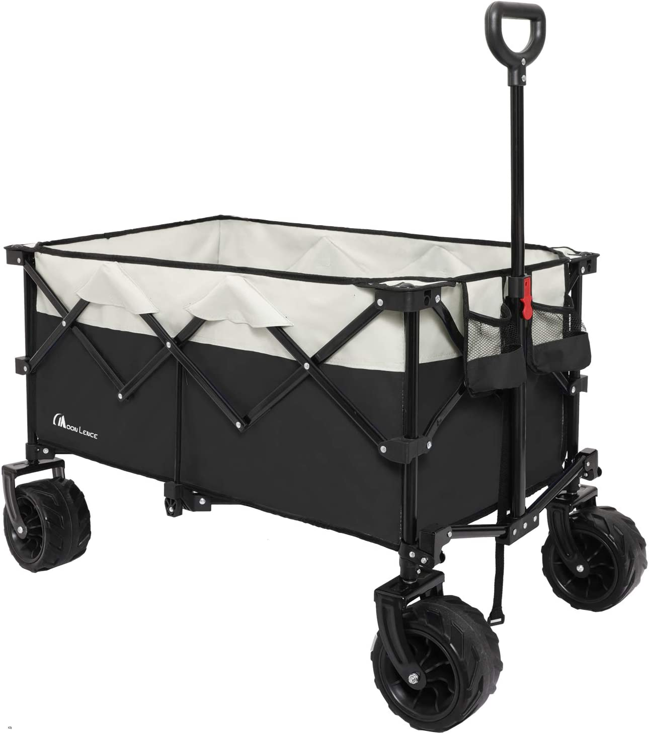 Moon Lence Collapsible Outdoor Utility Wagon Heavy Duty Folding Garden Portable Hand Cart with All-Terrain Beach Wheels, Adjustable Handle & Drink Holders: Kitchen & Dining