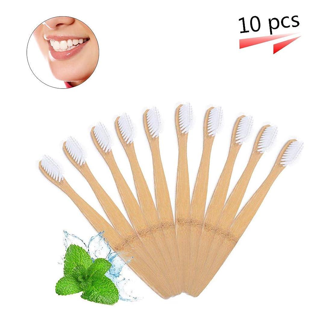 失態ファンタジー選ぶ竹の歯ブラシ 分解性 環境保護の歯ブラシ 天然の柔らかいブラシ ホワイト 10本