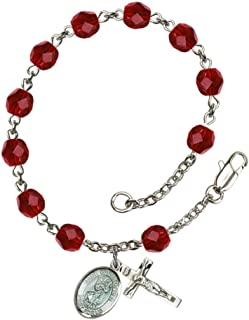 Bonyak Jewelry St. Christopher Silver Plate Rosary Bracelet 6mm Fire Polished Beads - Every Birth Month Color