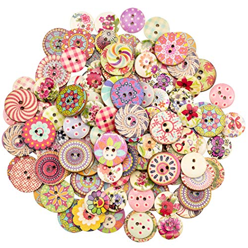 Foraineam 400pcs Mixed Wooden Buttons Bulk 2 Holes Round Decorative Wood Craft Button for Sewing Crafting