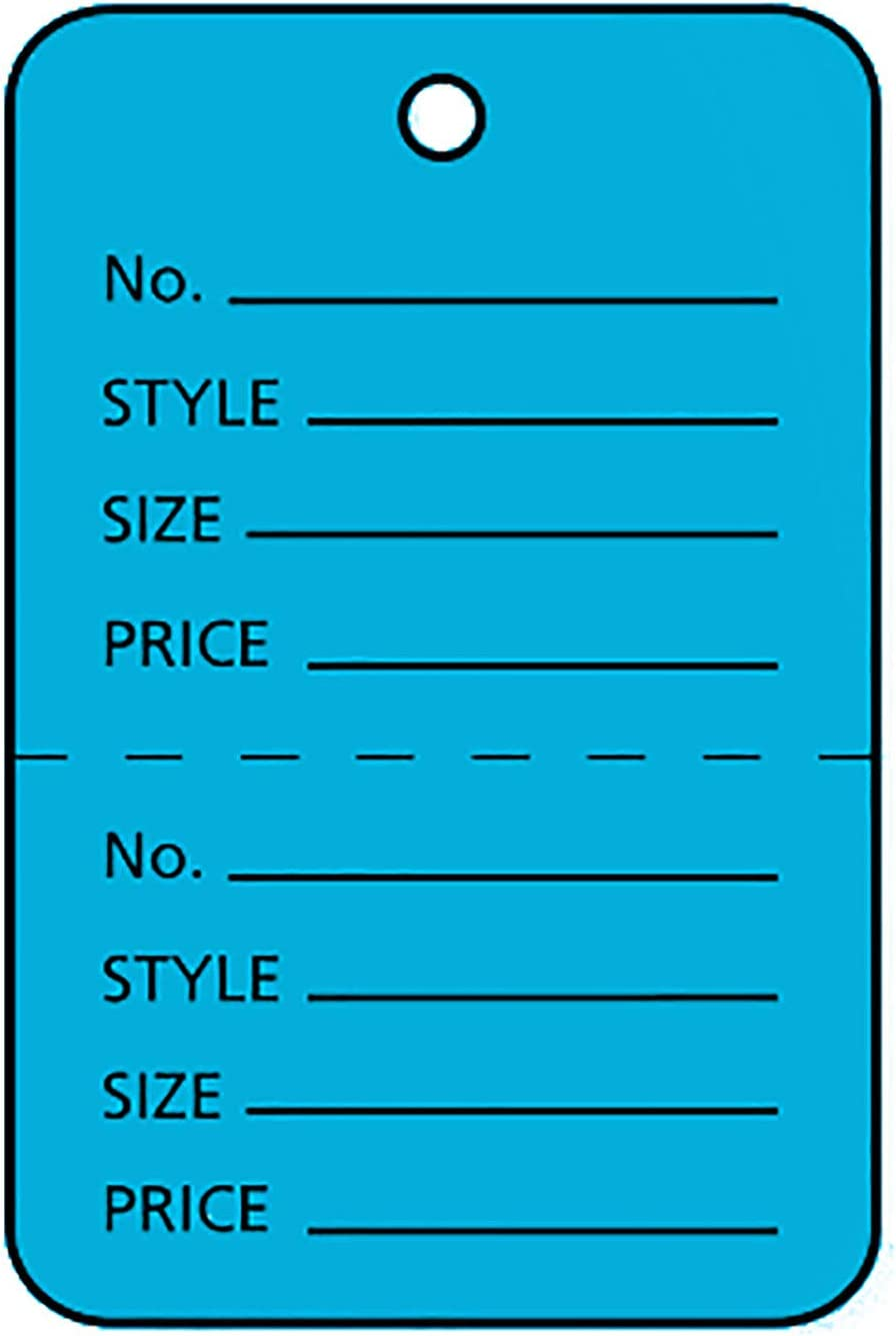 """Blue Perforated Coupon Charlotte Mall Price Tags - Jacksonville Mall 1 1⅞""""H x Unstrung 1¼""""W"""