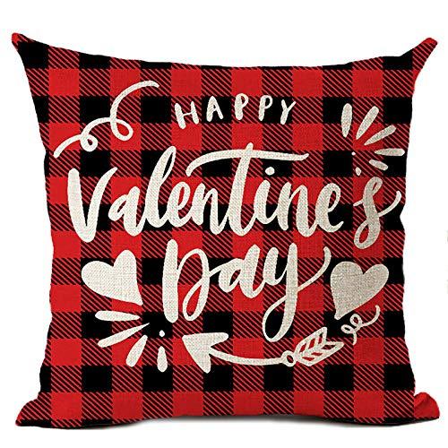 FDSIOXKF 1 funda de almohada de lino y algodón con diseño de camión rojo para sofá, decoración del día de San Valentín