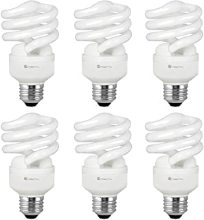 Compact Fluorescent Light Bulb T2 Spiral CFL, 2700k Soft White, 13W (60 Watt Equivalent), 900 Lumens, E26 Medium Base, 120V, UL Listed (Pack of 6)