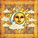 "5D DIY Diamond Painting Kit Handmade Cross Stitch""Tarot Moon and Sun"" Creative Home Crafts Round Diamond Rhinestone Mosaic Gift"