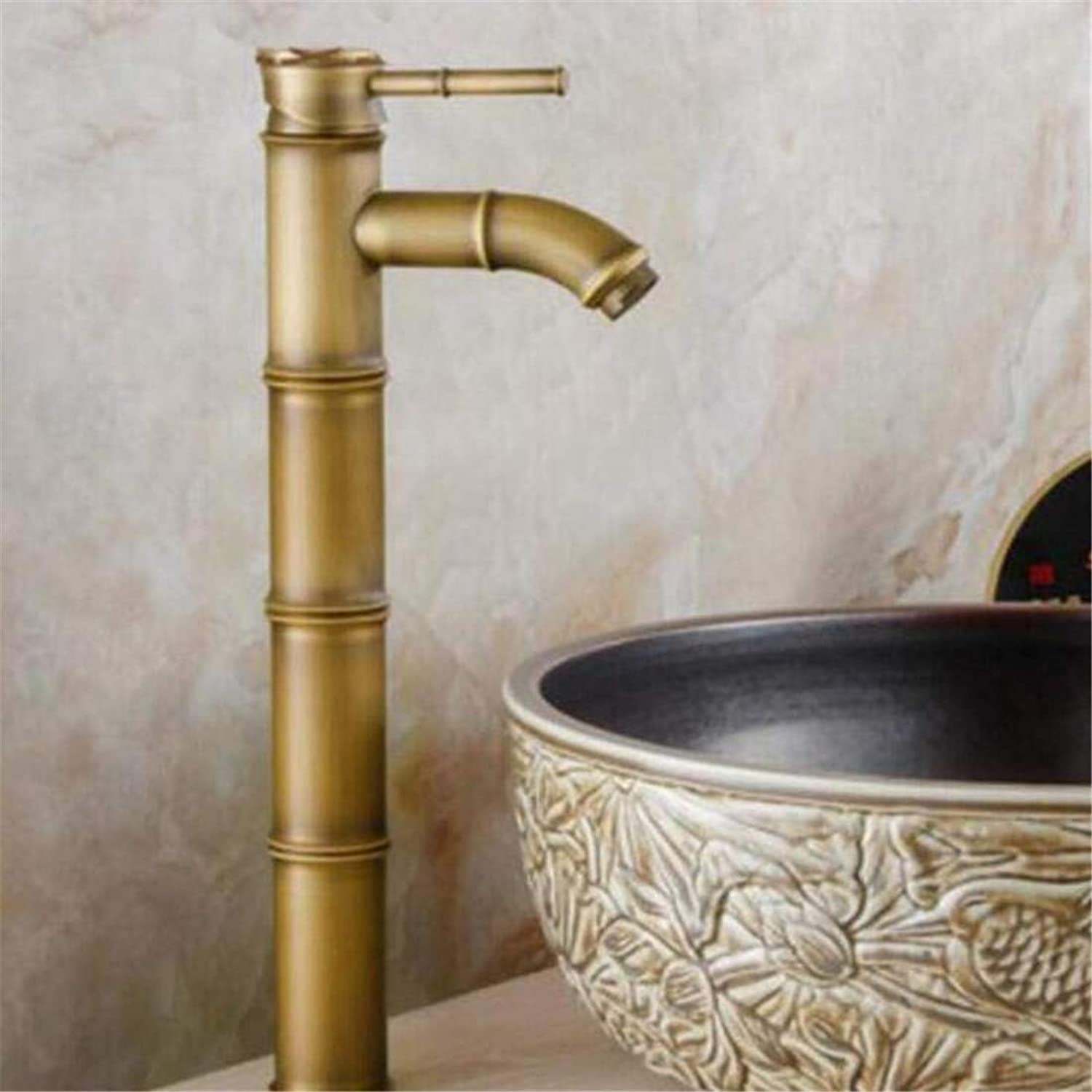 Faucet Vintage Plated Deck Mounted Faucet Faucet Washbasin Mixer Water Tap Antique Brass Bathroom Faucet Hot and Cold Luxury Wash Basin Faucet