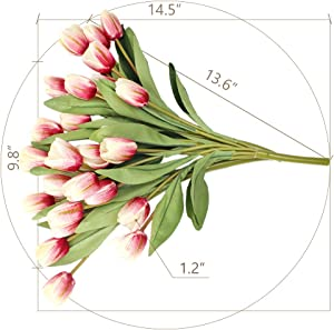 """SnailGarden 27Pcs Real Touch Pink Tulips,14.5"""" Silk Artificial Tulips Flowers with 2 pcs Satin Ribbons and 1pcs Greeting Card for Home Room Office Wedding Party Decor Flowers."""