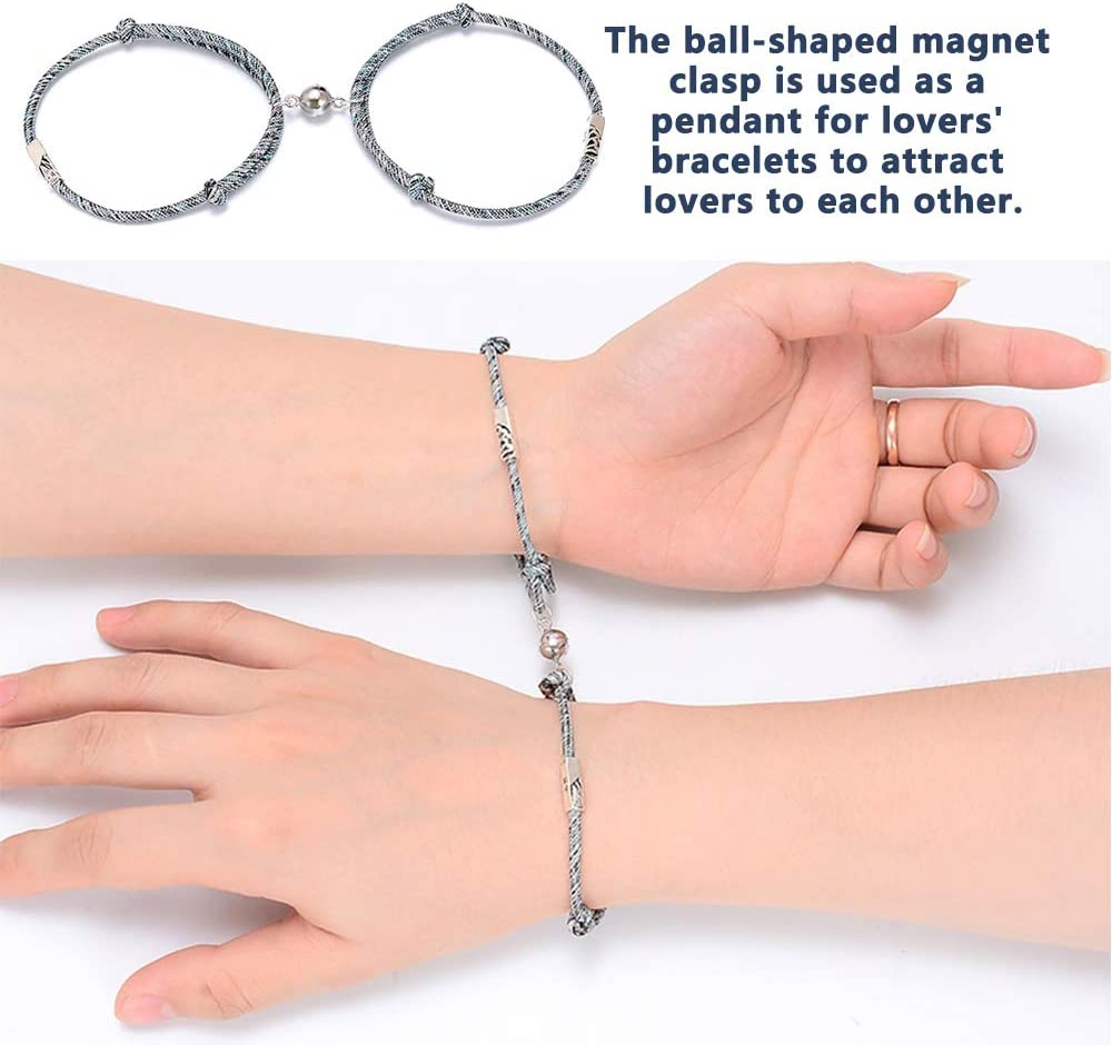 ECANGO 30 Sets Jewelry Magnetic Clasps and Closures Strong Round Brass Magnet Clasps Converter for Necklaces Bracelets Jewellery Making Findings Black, 8mm