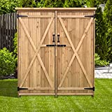 Hanover HANWS0101-NAT, Equipment, Garden Supplies, with Shelf and Latch 4.4 1.6 x 4.9 Ft. Outdoor Wooden Storage Shed for Tools, Natural