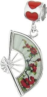 Dreambell .925 Sterling Silver Art Craft Flower Hand Fan Enamel Dangle European Charm