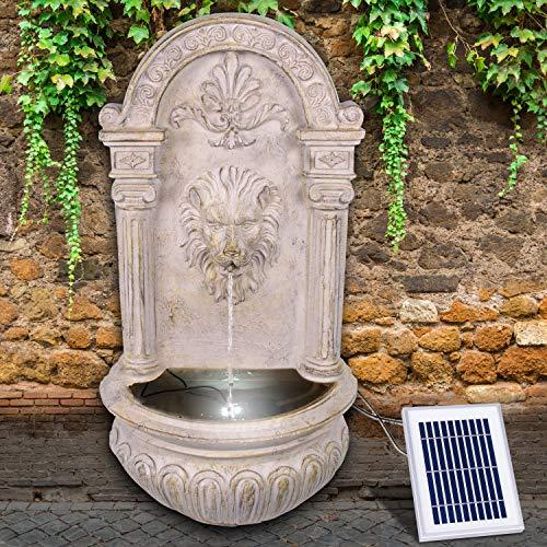 Gartenbrunnen Solarbrunnen Brunnen Vogelbad Wasserfall, Gartendeko mit Pumpe, Wasserspiel für Garten Terrasse Wandbrunnen, Balkon, Löwen-Brunnen Sehr Dekorativ, Led-Licht-Gartenleuchte