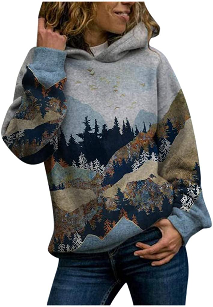 wlczzyn Hooded for Women Plus Size Fashion Printed Hoodie Pullover Sweatshirt Splice Long Sleeve Tops Shirts