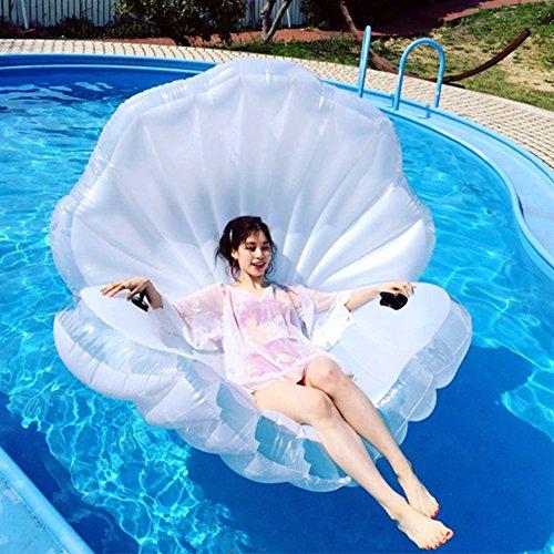 ZLYFA Piscina Gonfiabile di Bianco Shell per La Fila di Galleggiamento dell'Acqua della Chaise-Lounge della Sedia