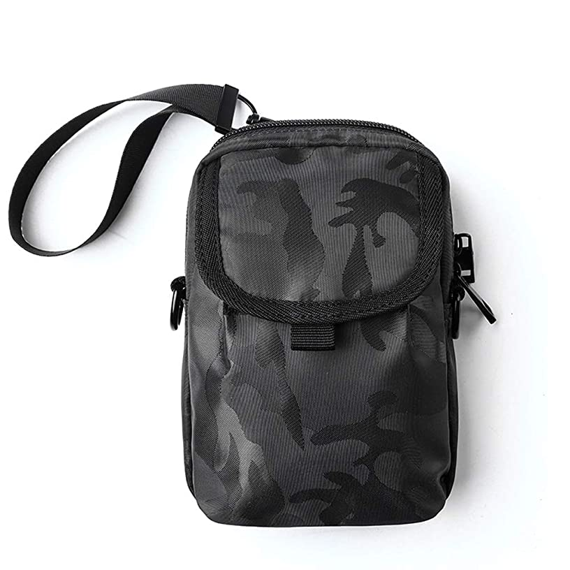 NY-close Waterproof Chest Bag Shoulder Bag Casual Messenger Bag Strap Bag, Multi-Purpose Canvas Mini Lightweight Small Backpack Men and Women Travel Outdoor Camping (Color : Black)