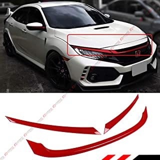 Fits for 2016-2018 Honda Civic JDM Glossy Red ABS Front Grill Tirm Cover Ganish - 3 Pieces