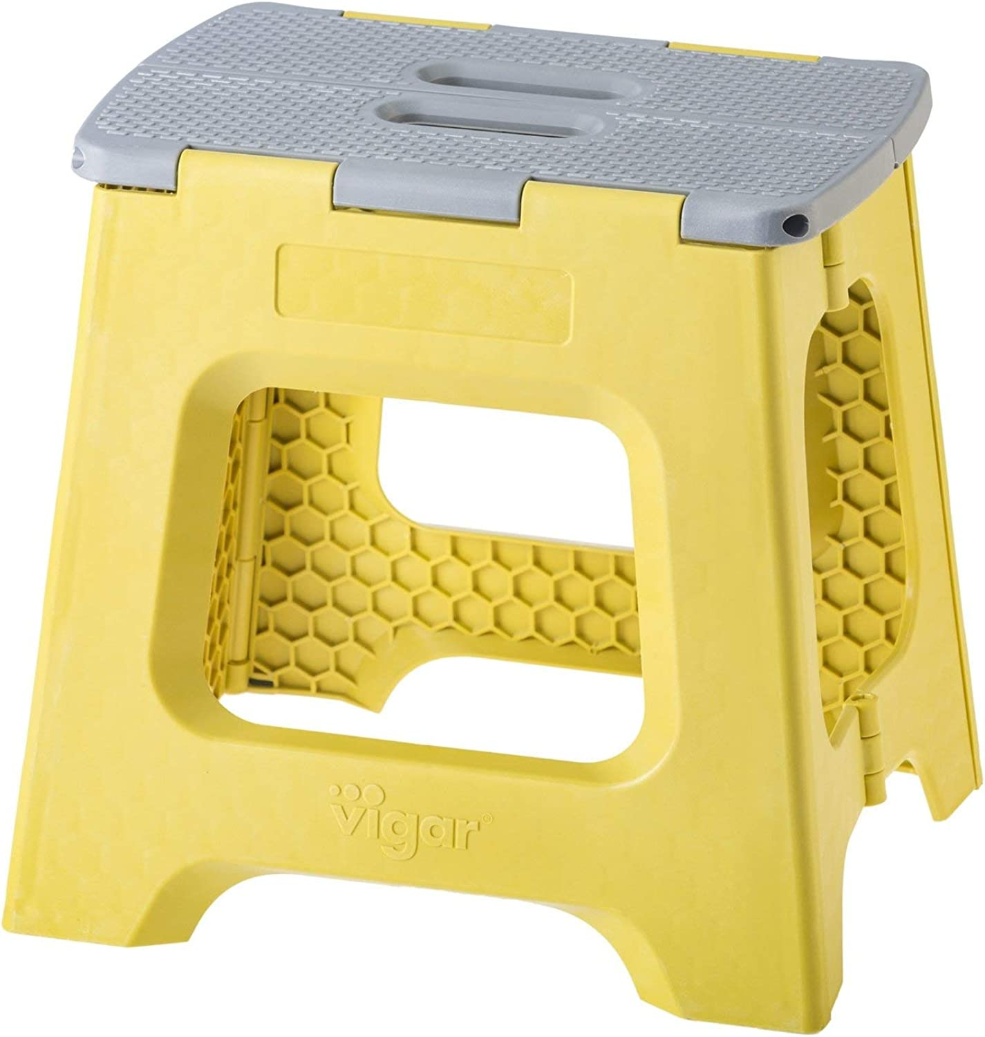Vigar Compact Foldable Stool, 12-1 2 , Lightweight, 330-pound Capacity Non-Slip Folding Step Stool for Kids and Adults, Mustard