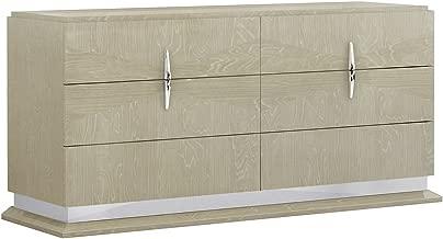 American Eagle Furniture DS-P108 Charlotte Modern Wide 6-Drawer Bedroom Dresser, Beige