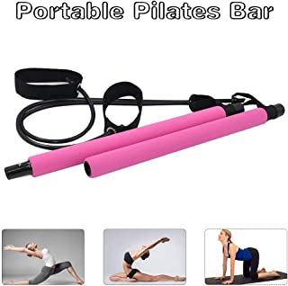 Portable Pilates Bar Kit with Resistance Band, Yoga Exercise Pilates Bar with Foot Loop Yoga Pilates Stick Total Body Workout Toning Bar for Yoga, Stretch, Twisting, Sit-Up Bar Resistance Band by Yoruii