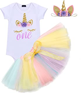 Baby Girl It's My 1st Birthday 3Pcs Outfits Skirt Set Romper+Tutu Dress+Headband Cake Smash Crown Bodysuit