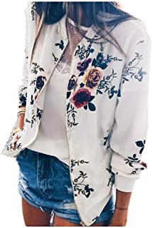 neveraway Womens Relaxed Floral Tops Outwear Crop Zip Up Bomber Jacket Coat