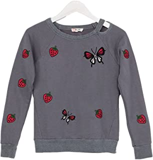 Miss Me Girls 7-16 Embroidered Peasant Top with Lace Accents